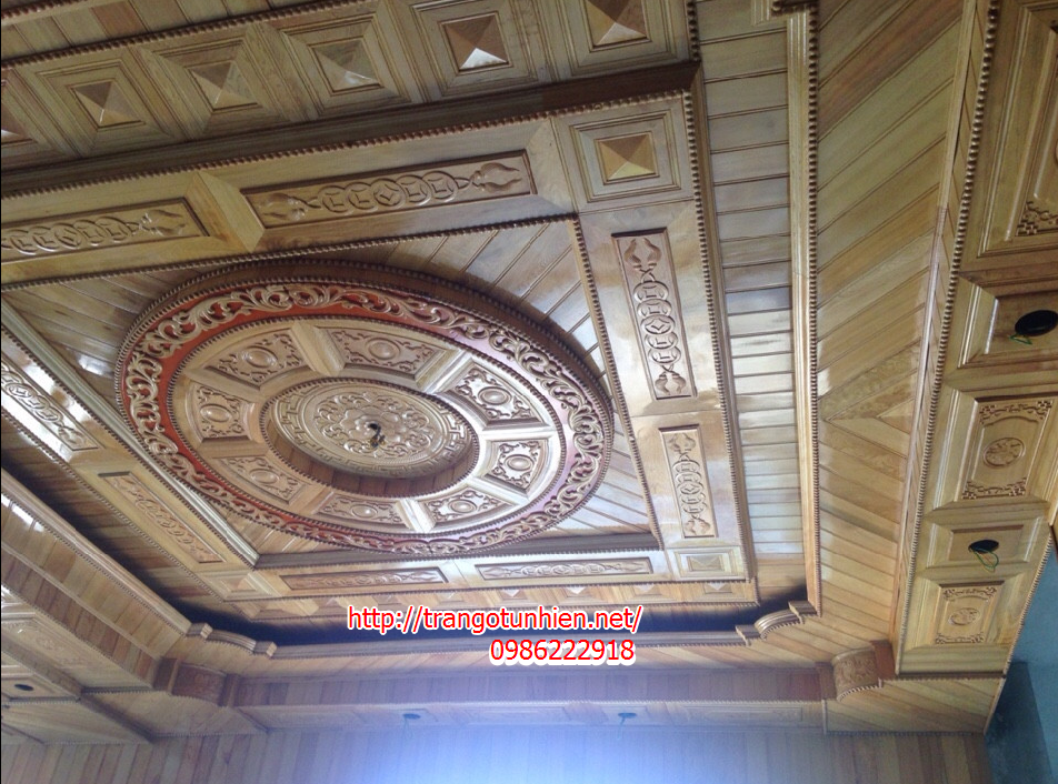 trần hộp trống đồng bằng gỗ pơ mu
